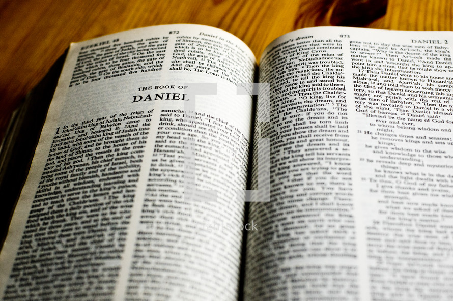 Open Bible in book of Daniel