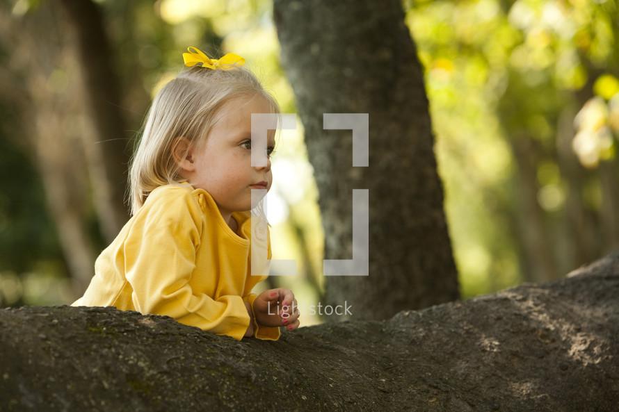 Little girl resting on a log