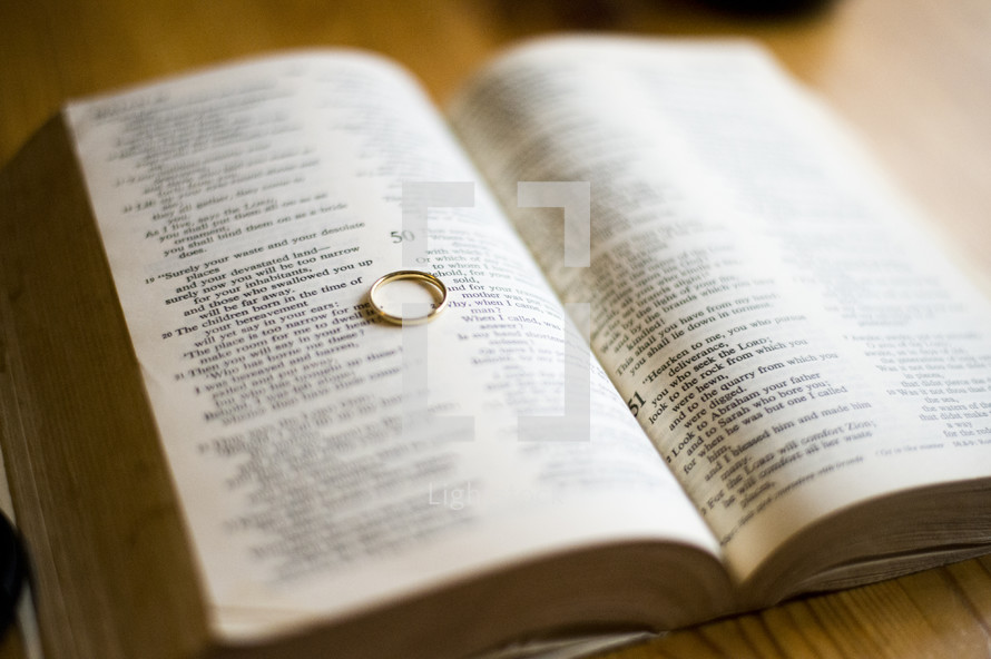 wedding band on the pages of a Bible