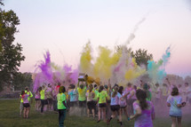 color toss at a color run