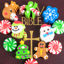 Holy Bible cover with Christmas erasers