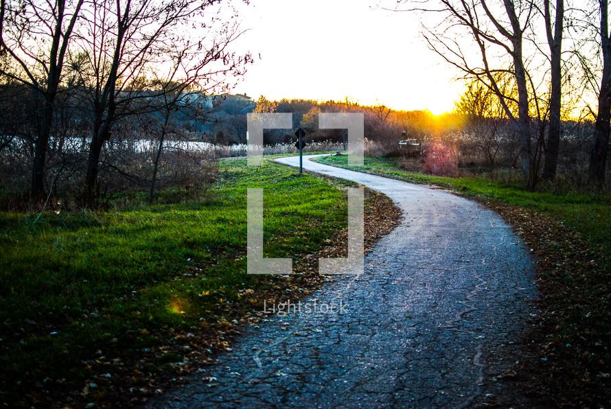 asphalt walking trail