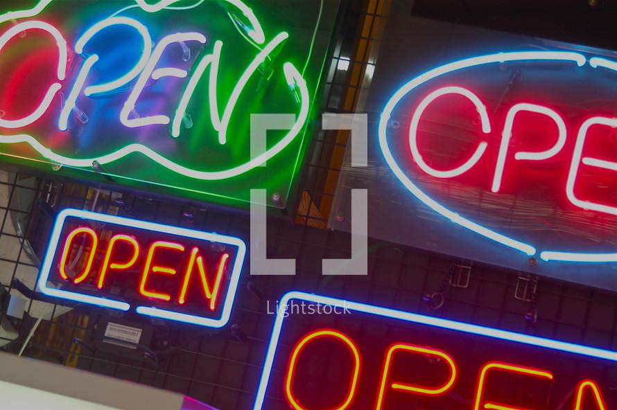 "neon ""open"" signs"