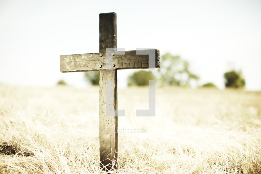 Wooden cross in a field