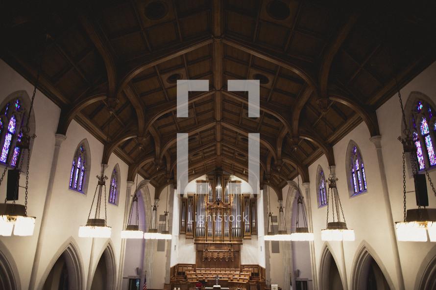 organ pipes in a church