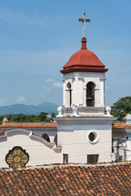 church steeple and roof tiles
