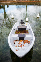 a boat floating on a pond