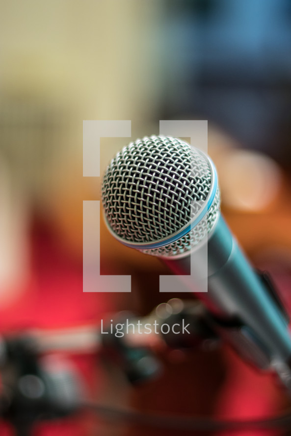 microphone on a stand in a church