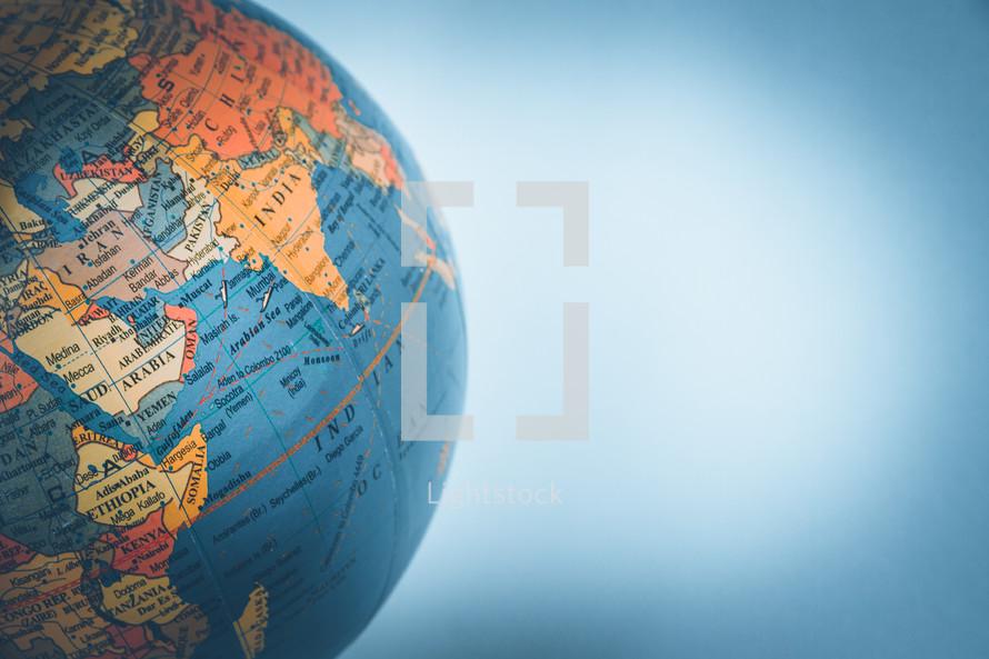 India on a globe