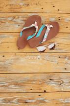 flip flops and sunglasses