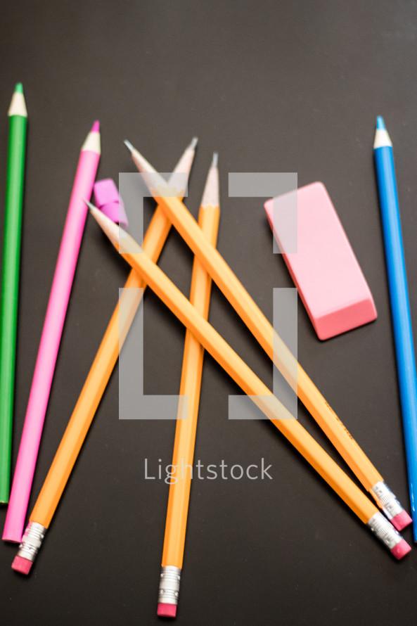 pencils, colored pencils, and school supplies