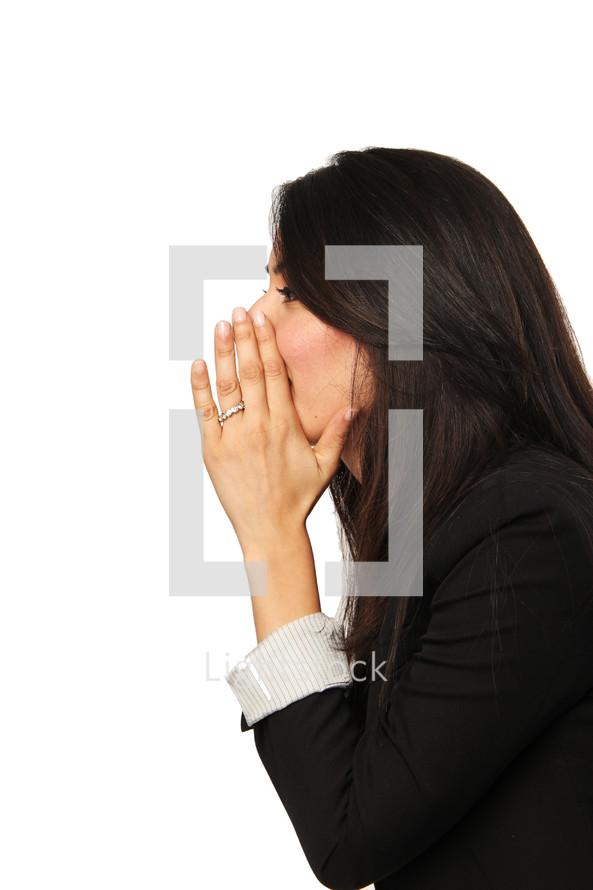 woman sharing a secret