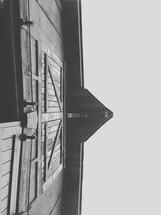 looking up at a barn
