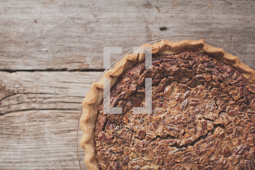 A pecan pie on a table
