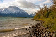 mountain lake shore