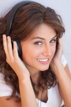 woman wearing headphones