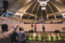 worship music, singers and parishioners