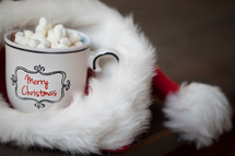hot cocoa in a Santa hat