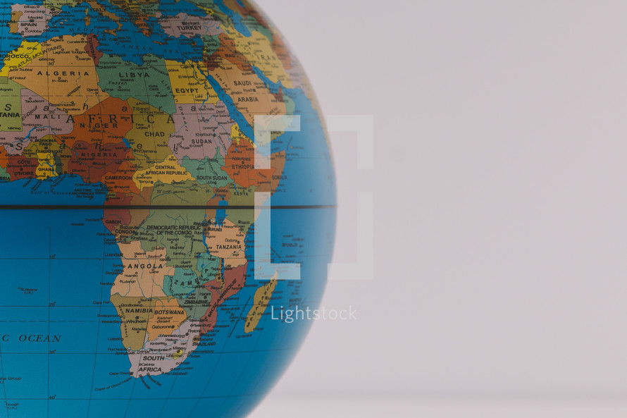 A globe showing Africa