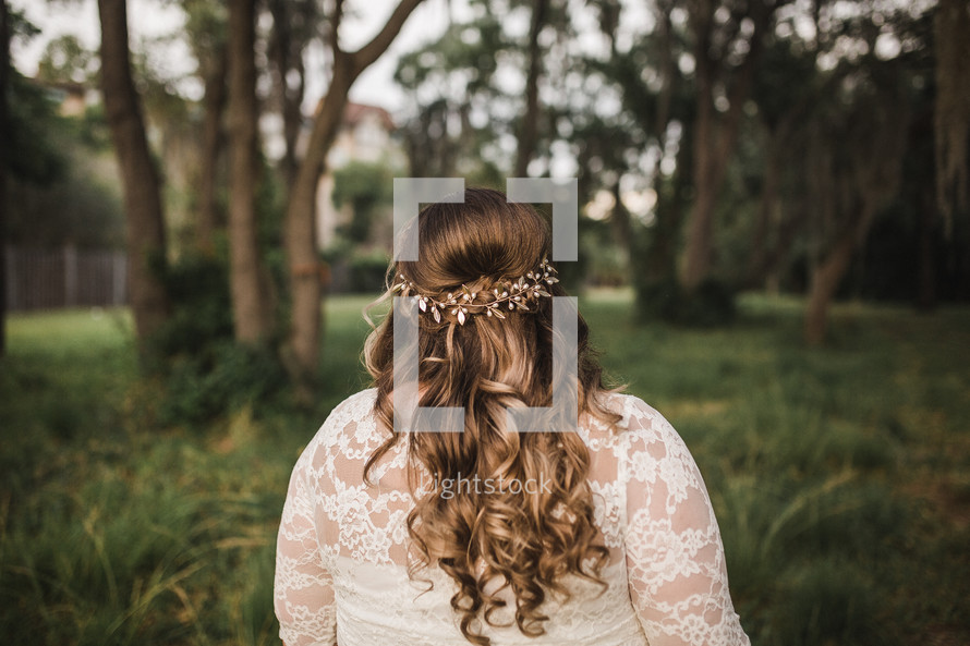 flowers in a bride's hair