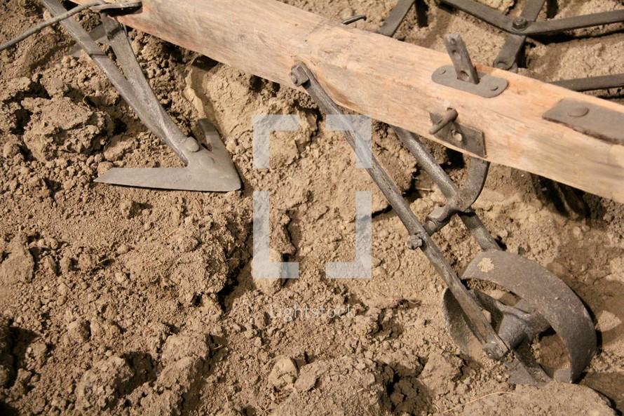 Antique Wooden Plough / Plow / Furrow