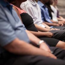 parishioners listening to a sermon