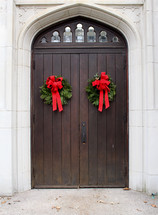 Christmas wreaths on church doors