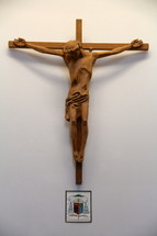 Wooden carving of a crucifix.