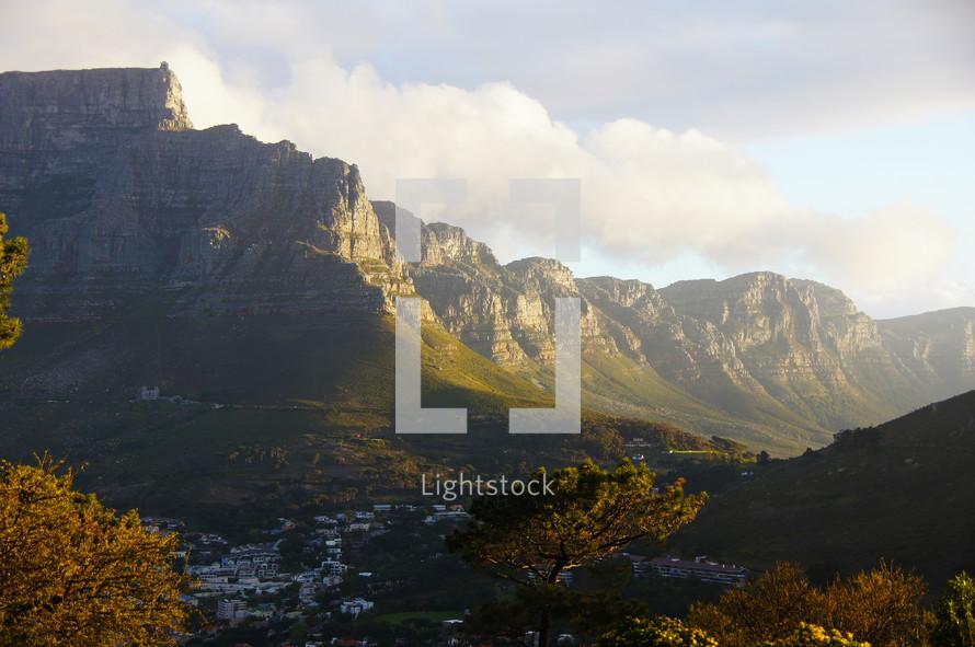 Mountain valley village at dawn