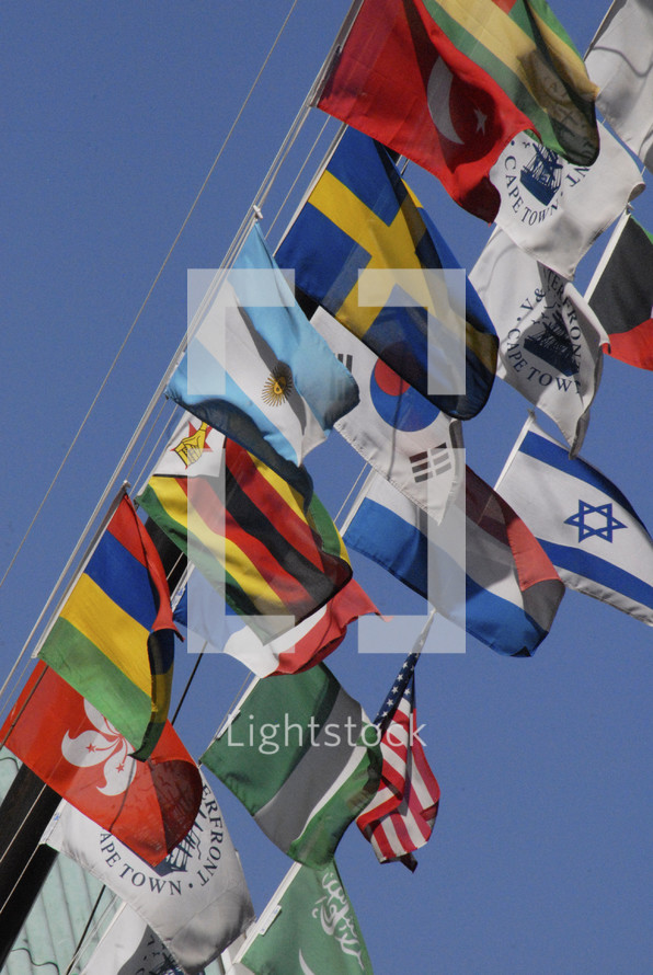 Flags from many nations
