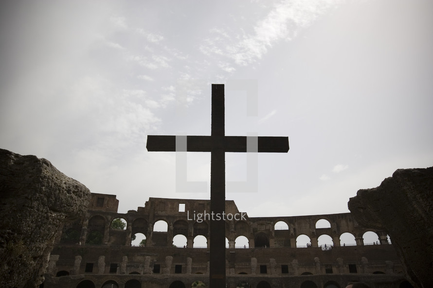 Martyrs cross in the Coliseum in Rome
