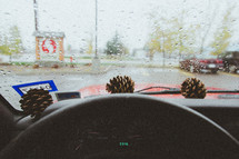 pine cones in a dashboard and rain on a windshield