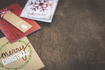 Christmas cards border on wood