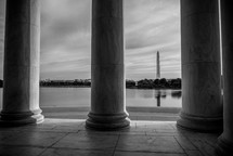 view of the Washington monument from Thomas Jefferson Memorial