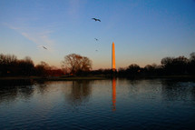 Washington monument at dusk reflecting in water