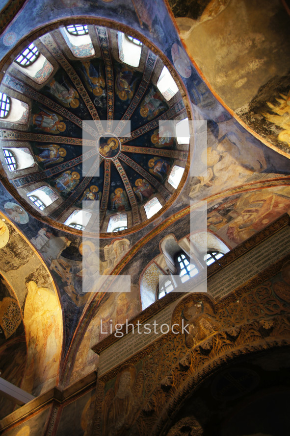 paintings of Jesus on a church dome