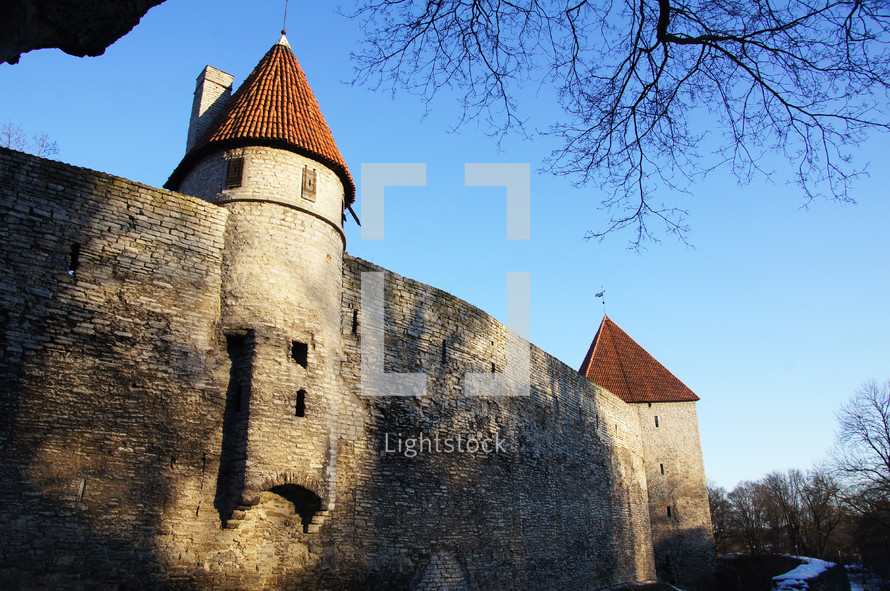 Castle wall and tower