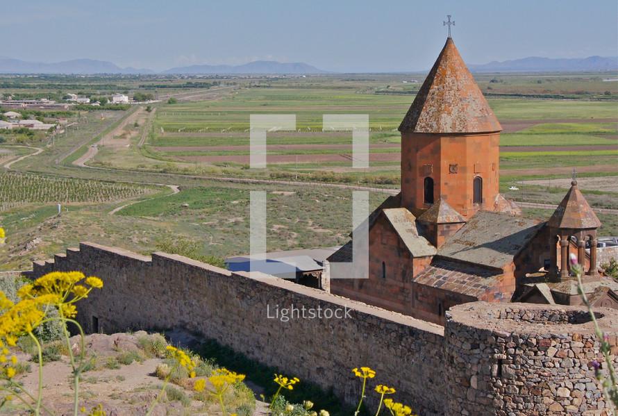 Rural stone church at the foot of Mr Ararat