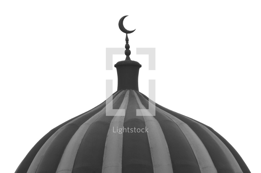 Crescent moon at the top of a muslim mosque