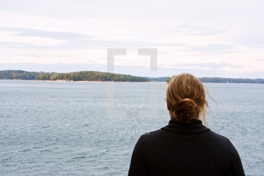 Back of woman's head as she looks out to the ocean with island in background.