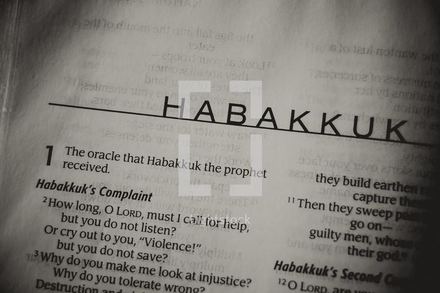 Open Bible in book of Habakkuk