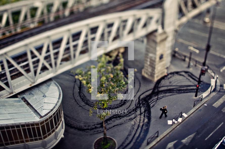 Aerial view of street corner