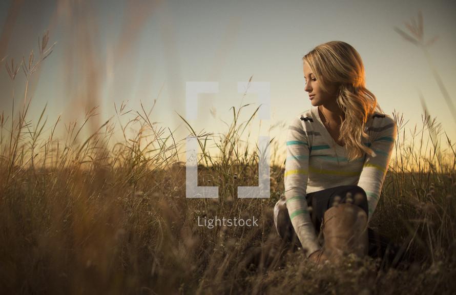 Girl in grass field