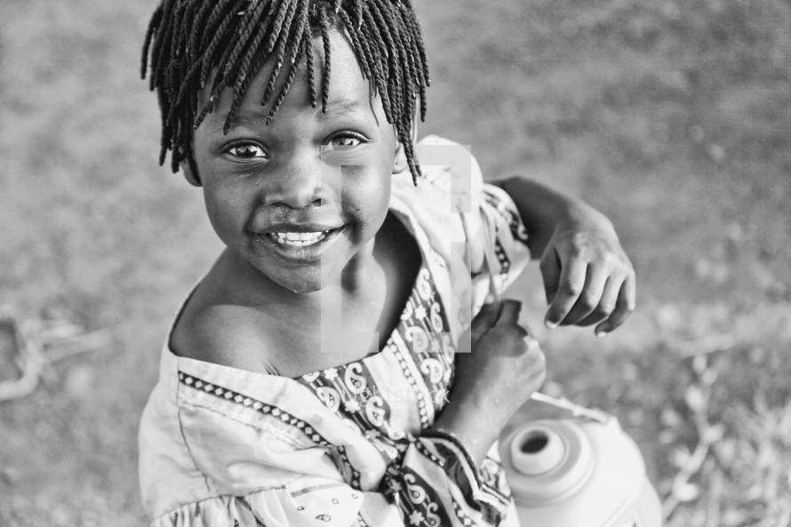 little girl with braided hair