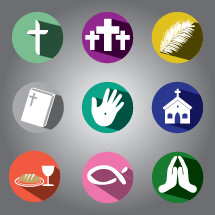 cross, communion, icons, bread, wine, Jesus fish, praying hands, christianity, Bible, church, wounds of Christ, feather