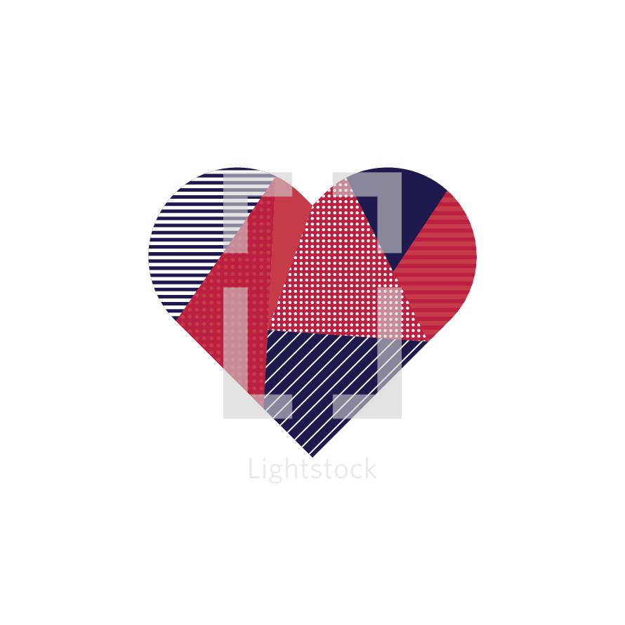 Patchwork heart illustration.