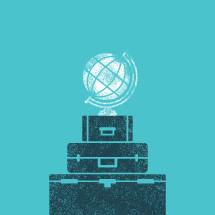 globe and luggage illustration.