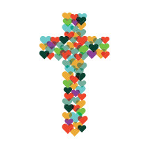 illustration of hearts forming a cross.