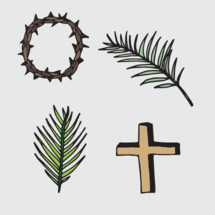 Palm frond, Palm Sunday, Good Friday, crown of thorns, cross, icon, symbols