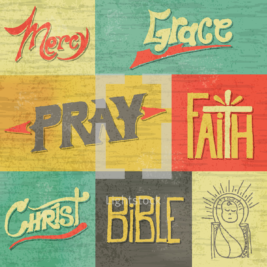 mercy, grace, Christ, pray, faith, Bible, words, vintage, baby Jesus, lettering, hand drawn lettering